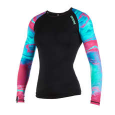 Mystic Womens Dazzled Longarm Shorty Rash Vest  - Aurora