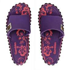 Gumbies Damen Slide Canvas Flip Flops - Lila Hibiskus